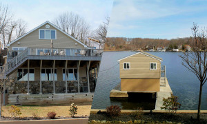 Remodeled lake front with boat house